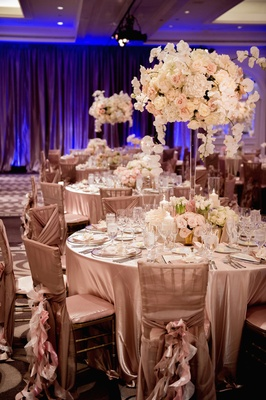 Round table topped with ivory floral centerpiece
