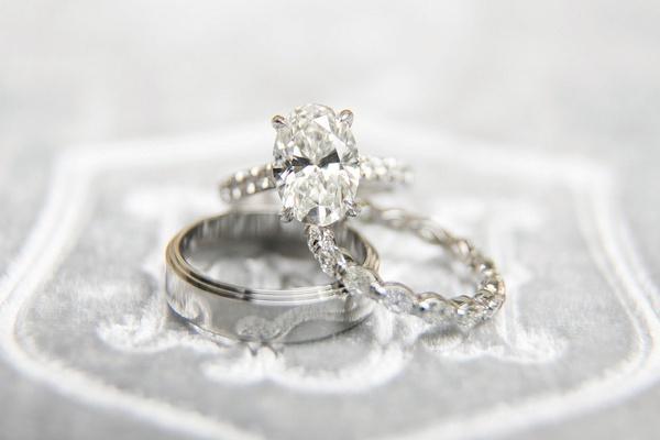 oval diamond halo engagement ring, eternity wedding band of halo diamond, men's white gold band