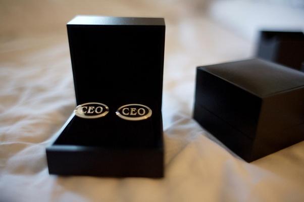 Black jewelry box with silver CEO cufflinks