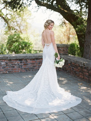 back of flared lace wedding gown white rustic berta designer chic low california