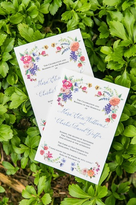 wedding invitation colorful pink purple orange flowers custom watercolor design
