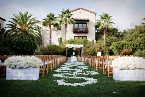 Outdoor Ceremony & Purple And White Ballroom Reception