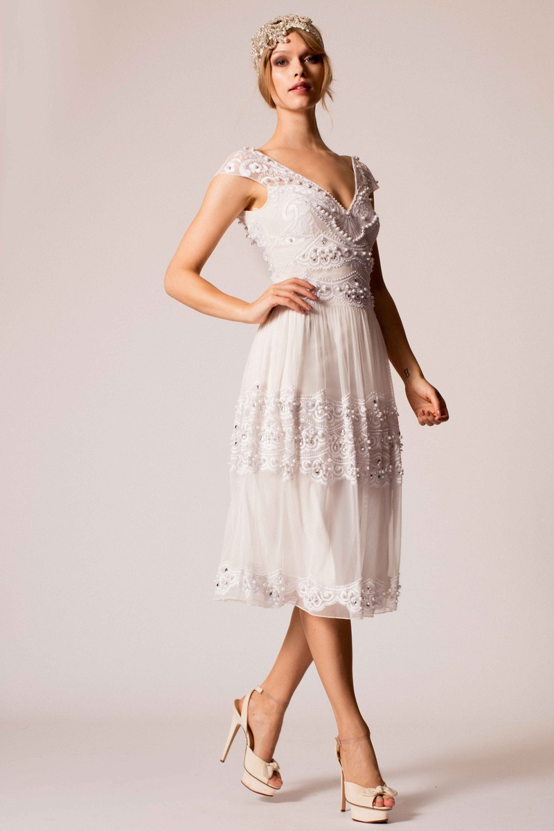 Temperley Bridal 2016 1920s Inspired Beaded Midi Length Wedding Dress