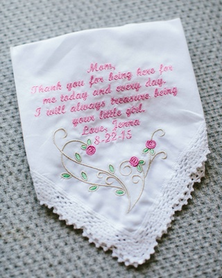 White handkerchief with lace trim rose motif pink embroidered letters