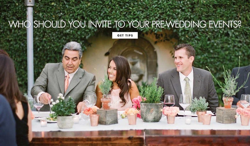 who to invite yo your pre-wedding events, rehearsal dinner, engagement party
