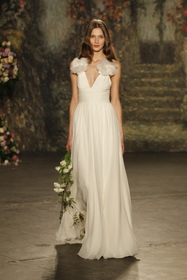 """rouched-waist, draped """"ceres"""" gown with fabric flowers on shoulders by jenny packham"""
