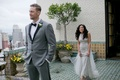 Hunter Pence waiting for Alexis Cozombolidis during first look in san francisco before wedding