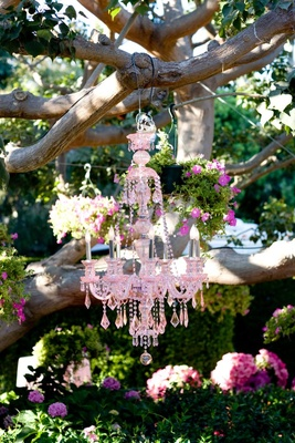 Cocktail hour décor hanging from tree