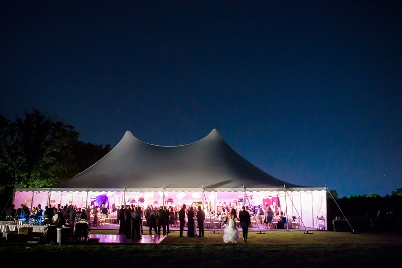 country club wedding, large tented reception on gold course