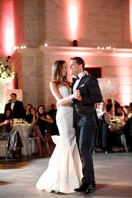 First dance of Chad Carroll in black tux with Jennifer Stone in Oscar de la Renta wedding dress