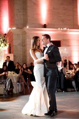 First dance of Chad Carroll in black tux with Jennifer Stone in Oscar de la Renta wedding dress