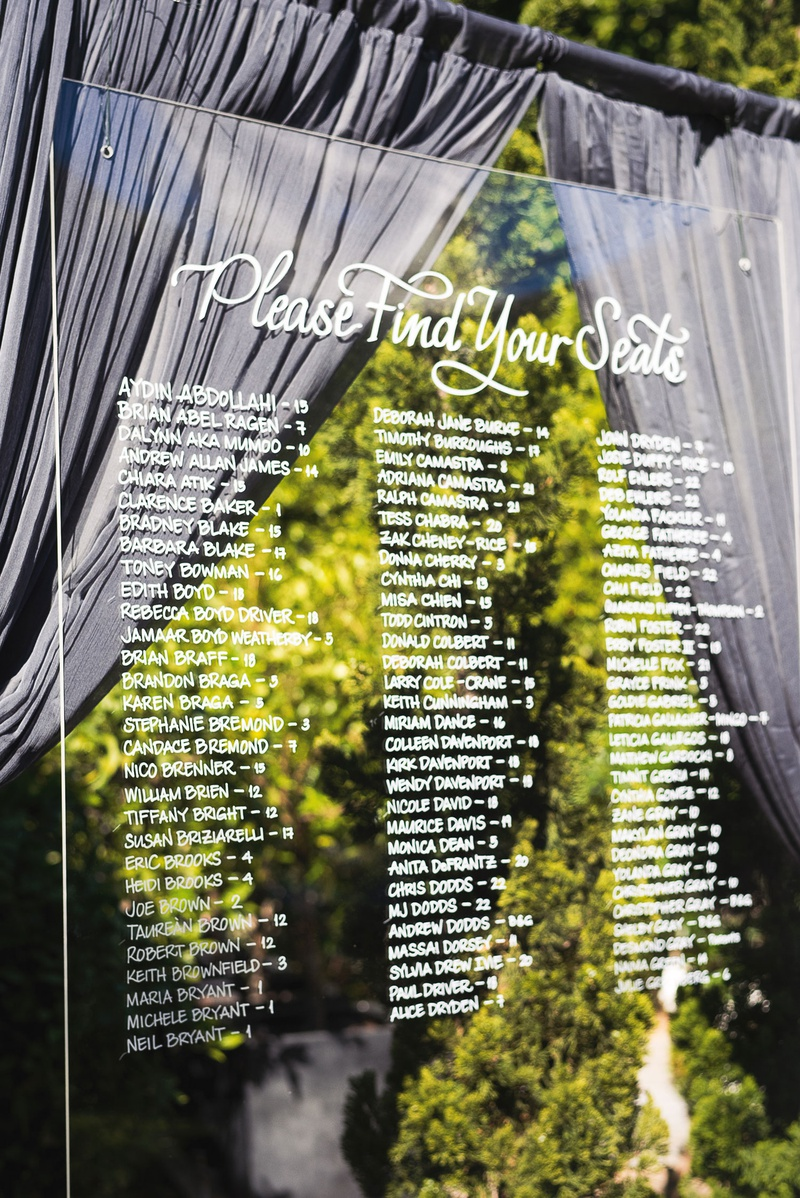 Wedding reception outdoor cocktail hour acrylic lucite seating chart please find your seats