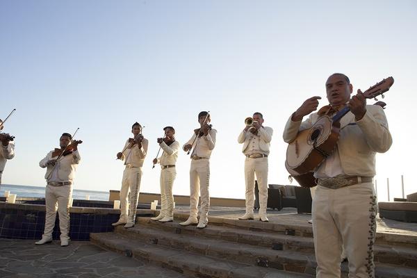 Mexican mariachi band performing at destination wedding in Baja California, Mexico