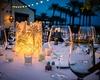 Wedding reception unique decor sketch of travels around candles at outdoor wedding fall la quinta