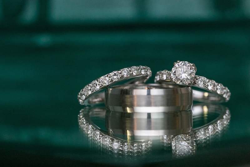 Diamond eternity band and brushed wedding ring