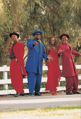 Brazilian music group in red and blue