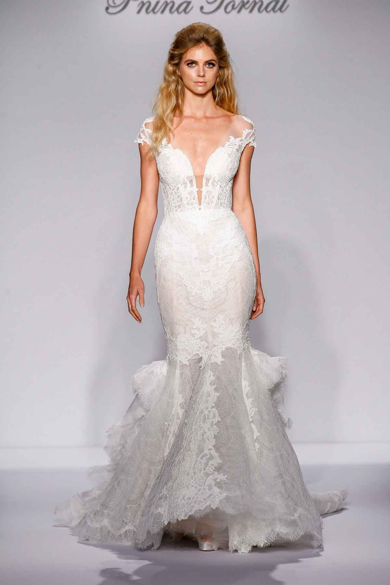 Pnina Tornai for Kleinfeld 2016 mermaid wedding dress with lace and ruffle train