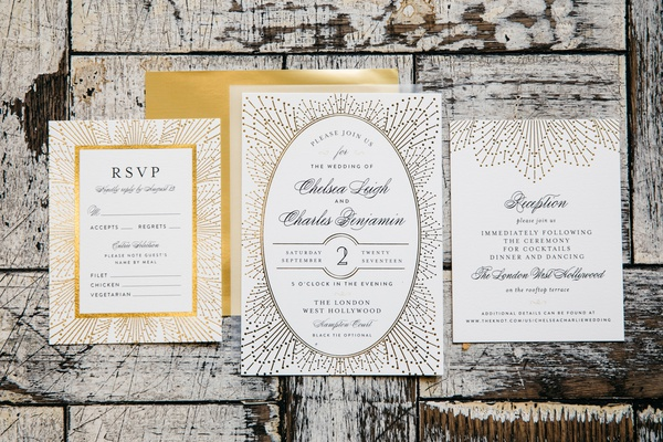 minted wedding invitations with intricate metallic designs