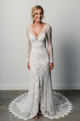 Mai by Grace Loves Lace Elixir layered lace wedding gown with cheer long sleeves and v neck