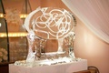 Winter wedding reception with ice sculpture