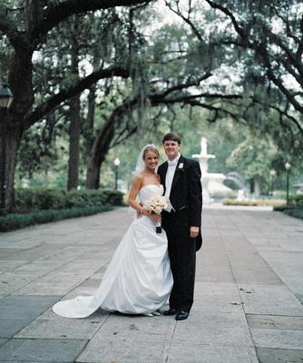 Forsyth Park wedding couple portrait