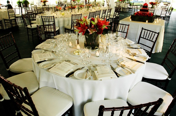 Reception with tables in different shapes and sizes