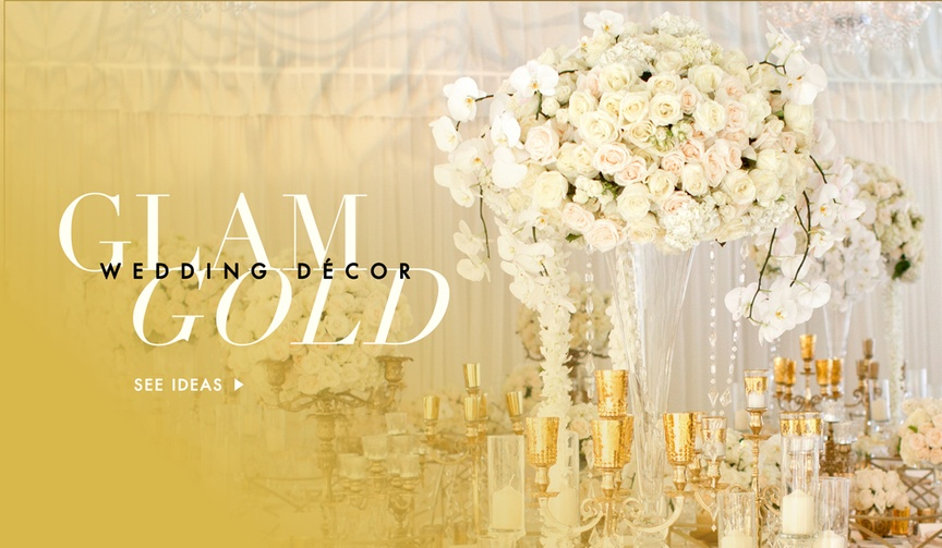 Gold wedding decorations at ceremony and reception