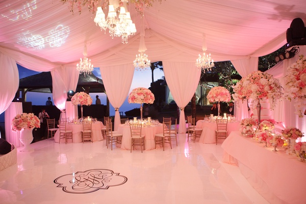 Custom wedding dance floor with monogram in center