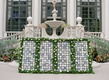 wedding reception the breakers courtyard wedding cocktail hour blue white tiles and greenery white