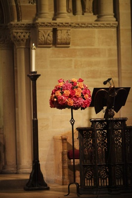 Wedding Ceremony Pink And Orange Flower Arrangement At Podium