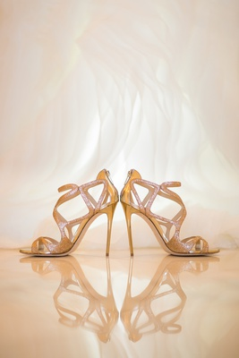 glittery gold jimmy choo shoes for bride, metallic glitter wedding shoes