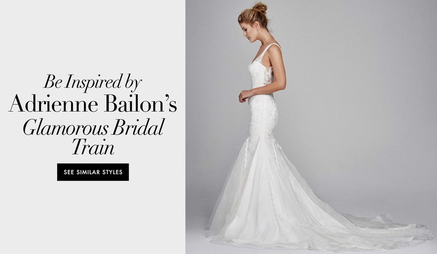 adrienne bailon israel houghton wedding paris dress fitted mermaid long train the cheetah girls real