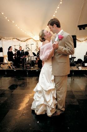 Rustic wedding bride and groom on dance floor