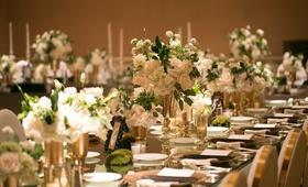 long reception tables mirror tops gold silver white green square ballroom wedding reception modern