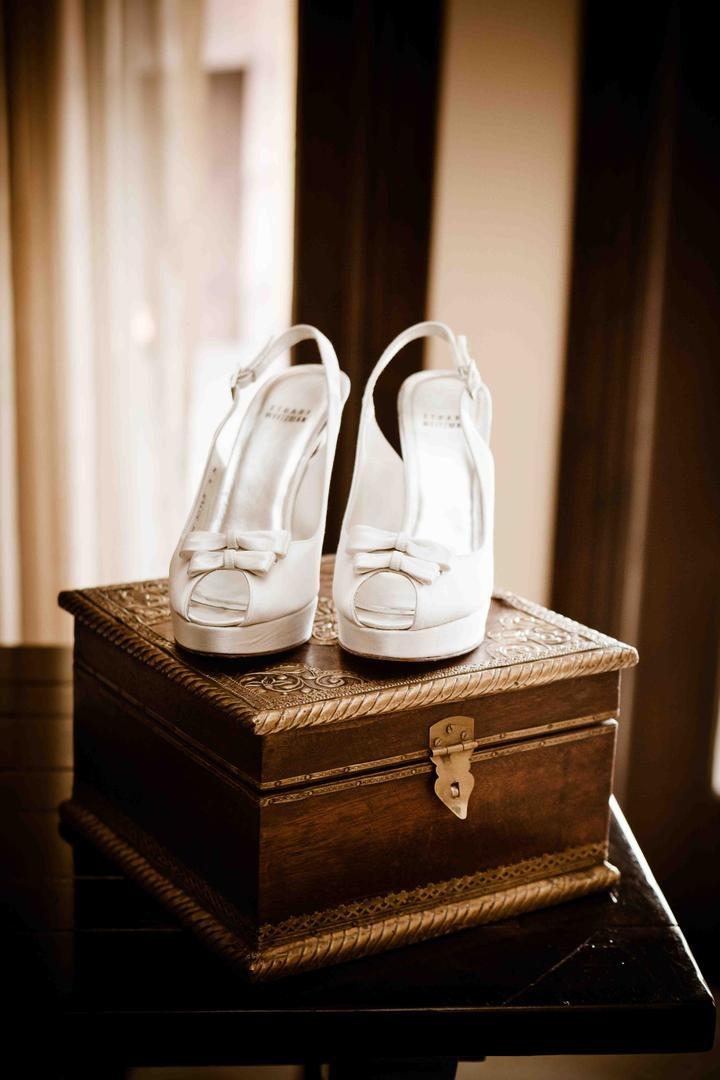 Stuart Weitzman bridal platform shoes
