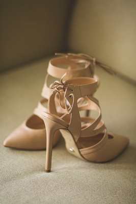 Bridal wedding shoes nude heels with open heel lace up ankle strap straps and solid pump toe