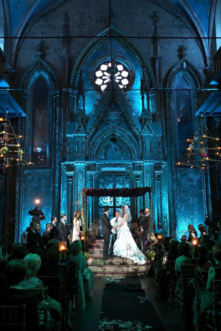 Ceremony Décor Photos - Gothic Venue - Inside Weddings
