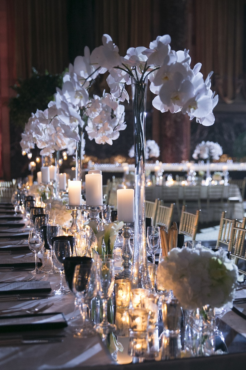 wedding ceremony new york city%0A     Wedding reception table with mirror runner  white orchids  calla  lilies  candles at Cipriani