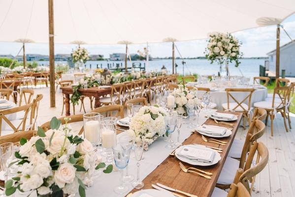 backyard wedding reception tent by the coast in maryland, vineyard chair