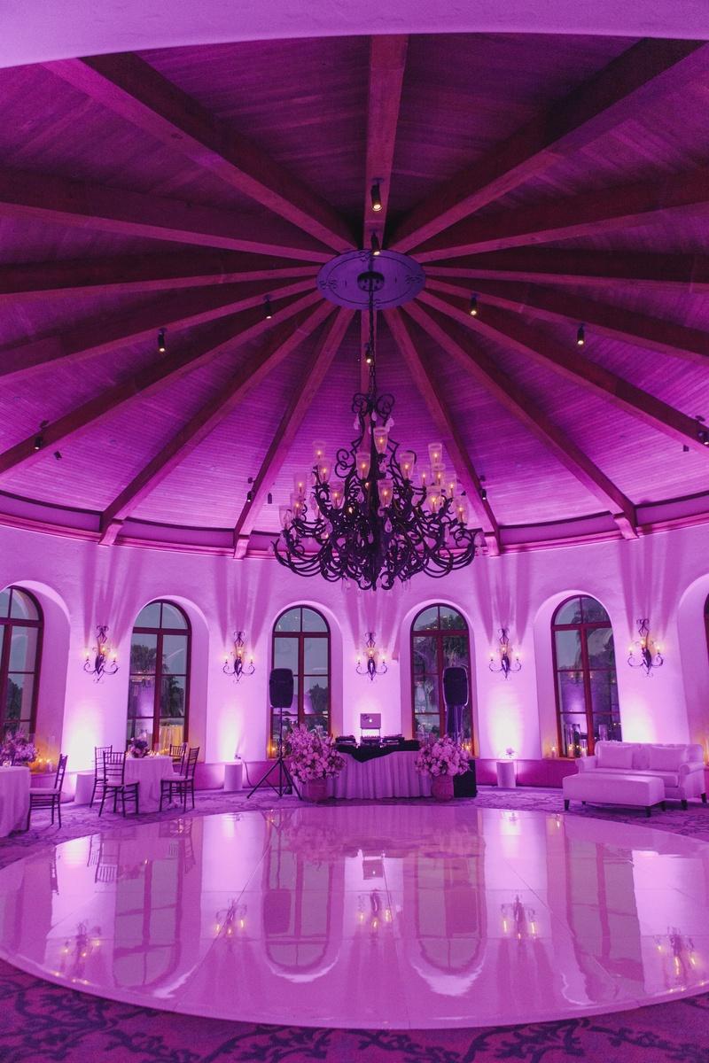 Purple lighting in domed ballroom at Bacara