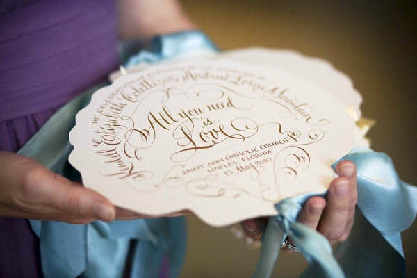 Destination wedding ceremony program fan