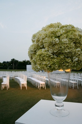 Green hydrangea flower arrangement at wedding ceremony