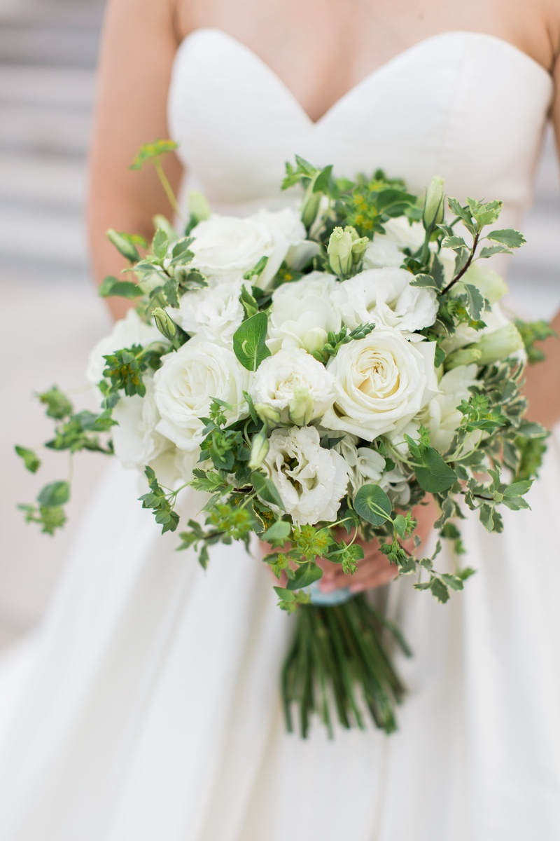 bridal bouquet with white roses and greenery