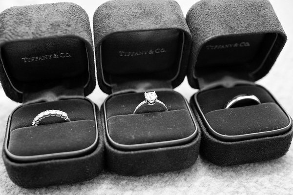 Black and white photo of Tiffany & Co. wedding ring boxes