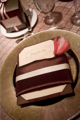 brown napkin and white menu on brown plate