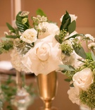 miniature floral arrangements gold vessel green white reception decor california modern wedding