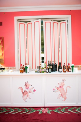 custom bar front dog illustrations pink alcohol southern wedding reception greenbrier