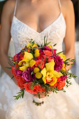 orange pink yellow bouquet red colorful destination wedding styled shoot punta mita mexico tropical