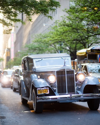 Silver 1937 vintage car on New York City streets