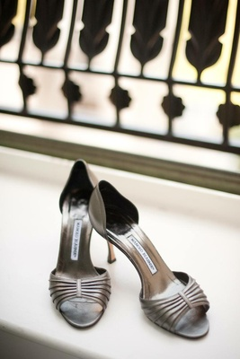 Metallic Manolo Blahnik peep toe wedding shoes